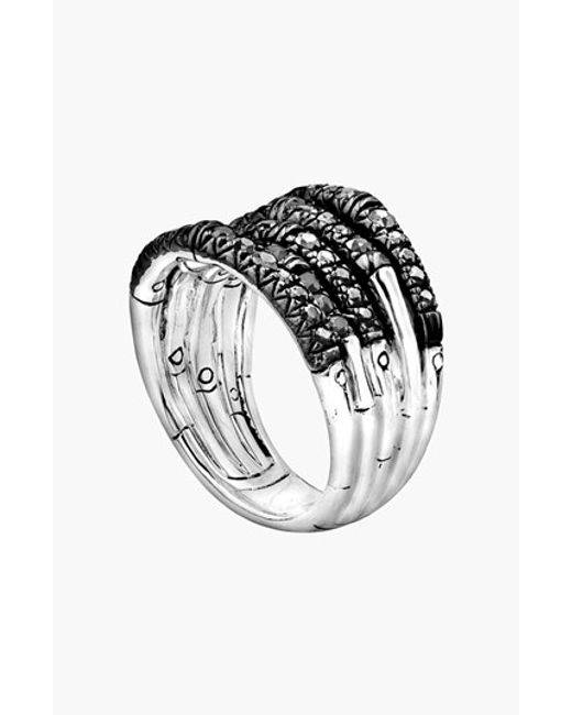 John Hardy   Metallic 'bamboo - Lava' Wide Pave Sapphire Stack Ring   Lyst
