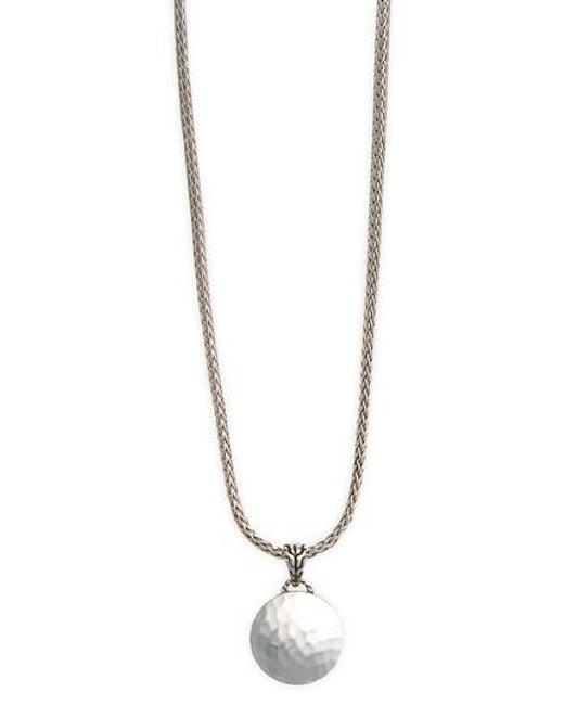 John Hardy - Metallic 'palu' Round Pendant Necklace - Lyst