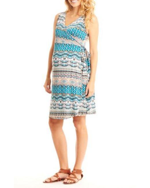 Everly Grey | Blue 'tania' Sleeveless Maternity/nursing Wrap Dress | Lyst