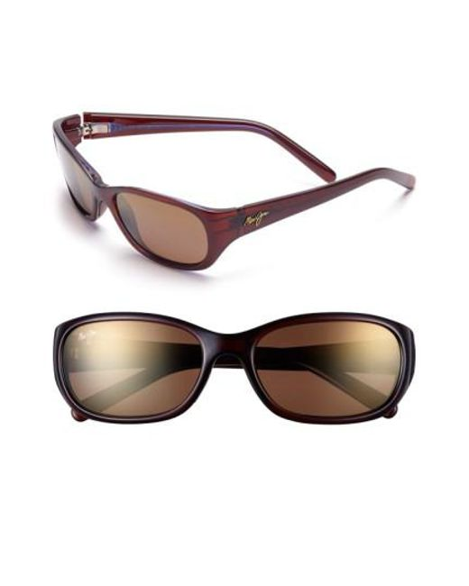 Maui Jim | Brown Kuiaha Bay 55mm Polarizedplus Sport Sunglasses - Rootbeer Blue | Lyst
