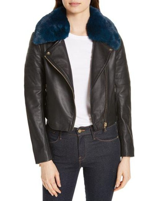 60ec8ebc1 Ted Baker - Black Colour By Numbers Leather Biker Jacket With Faux Fur Trim  - Lyst