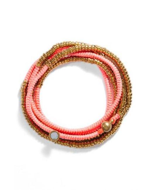 Serefina   Red Beaded Wrap Bracelet   Lyst