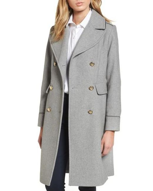 Vince Camuto | Gray Double Breasted Utility Coat | Lyst