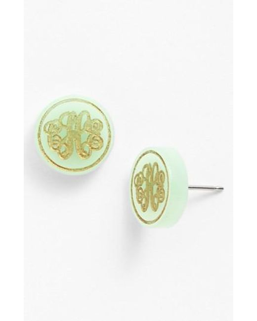 Moon & Lola | Metallic 'chelsea' Small Personalized Monogram Stud Earrings (nordstrom Exclusive) | Lyst