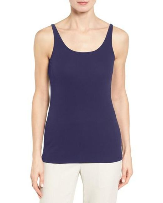 Eileen Fisher | Blue Long Scoop Neck Camisole | Lyst