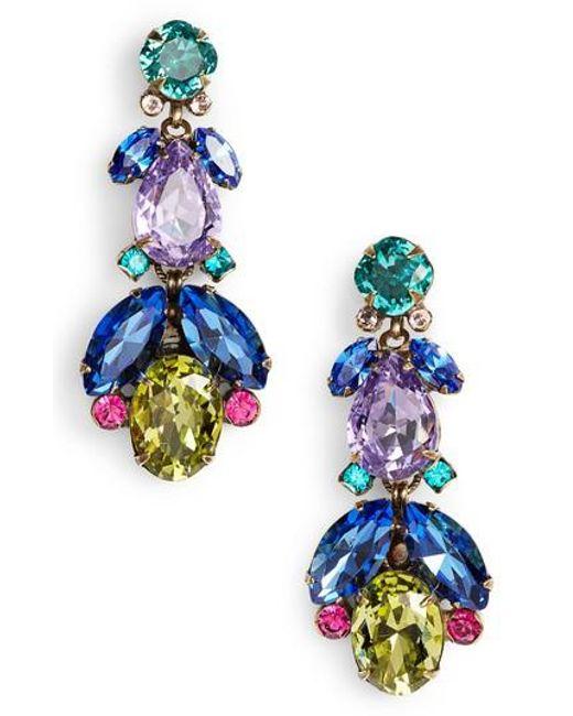 Sorrelli - Blue Pine Crystal Drop Earrings - Lyst