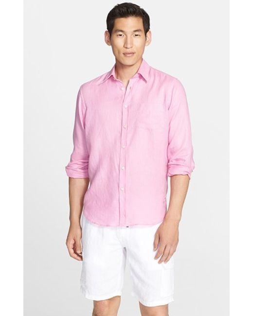 Vilebrequin   Pink 'caroubier' Linen Shirt for Men   Lyst