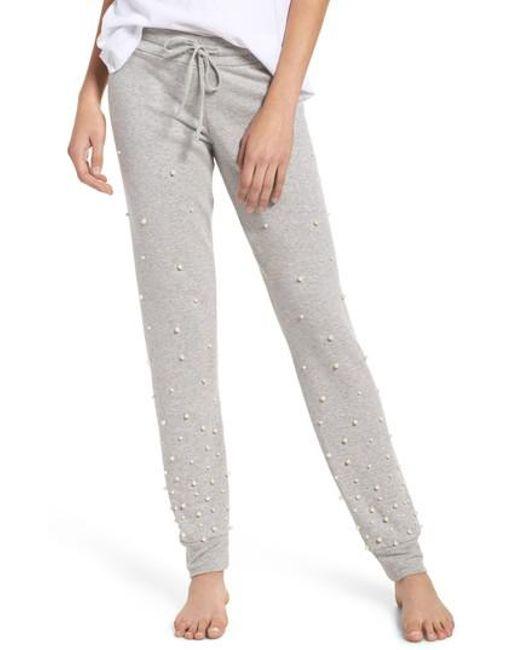 Michael Lauren | Gray Price Imitation Pearl Embellished Lounge Pants | Lyst