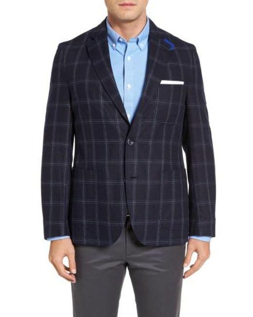 Kroon   Blue White Classic Fit Check Silk Sport Coat for Men   Lyst