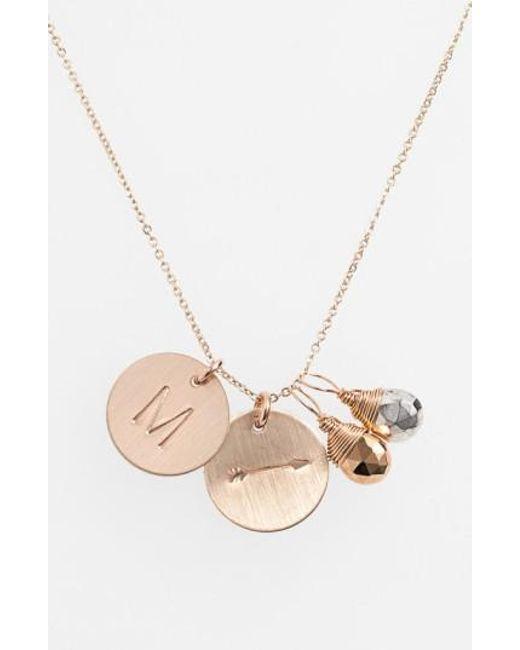 Nashelle | Metallic Pyrite Initial & Arrow 14k-gold Fill Disc Necklace | Lyst