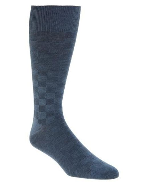Calibrate - Blue Grid Socks for Men - Lyst