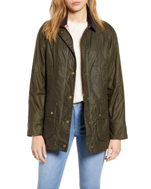 Barbour Green Violet Lightweight Waxed Cotton Canvas Coat