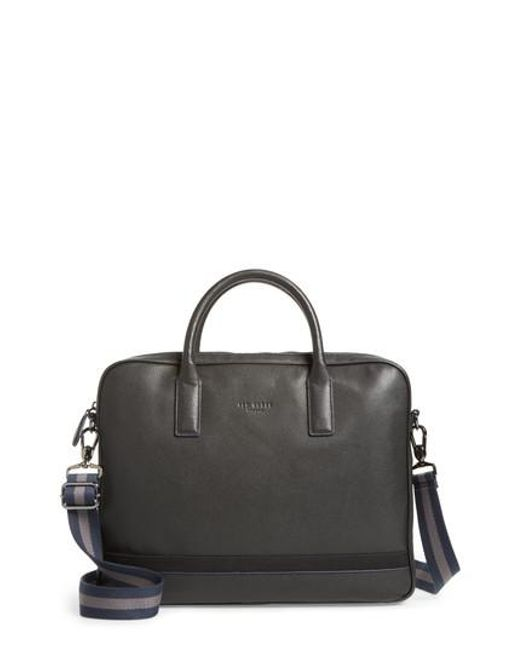 Ted Baker - Black Lowmee Leather Briefcase for Men - Lyst