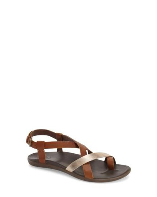 Olukai - Brown Upena Leather Sandals - Lyst