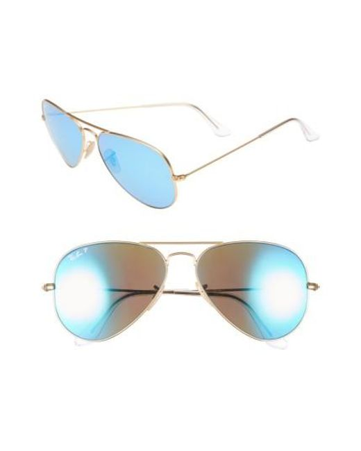 Ray-Ban | Blue Standard Icons 58mm Mirrored Polarized Aviator Sunglasses | Lyst