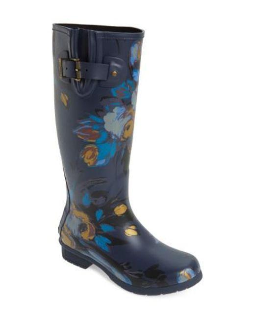 Chooka   Blue Nina Floral Mid Calf Rain Boot   Lyst