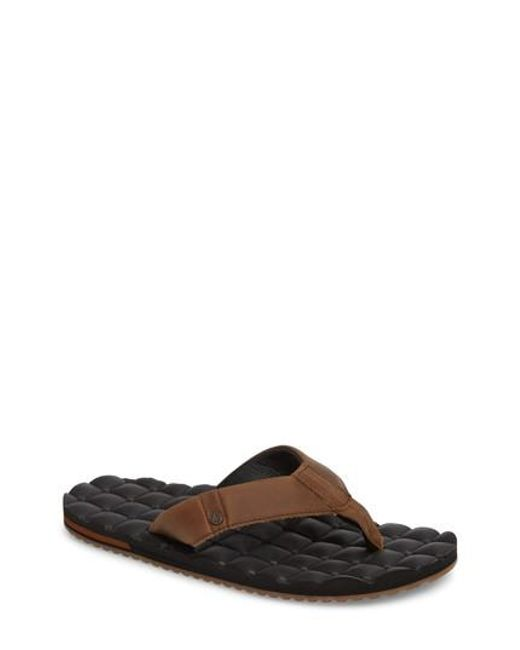 Volcom - Brown 'recliner' Leather Flip Flop for Men - Lyst