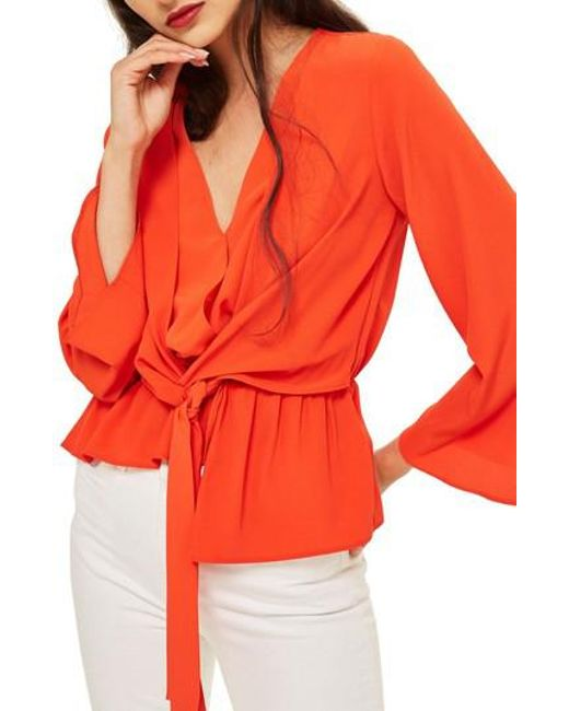 TOPSHOP - Red Tiffany Asymmetrical Blouse - Lyst
