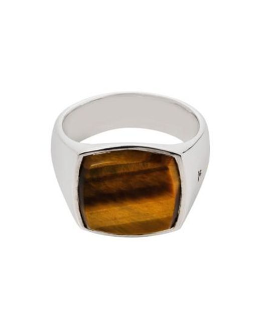 Tom Wood   Metallic Cushion Tiger's Eye Signet Ring   Lyst