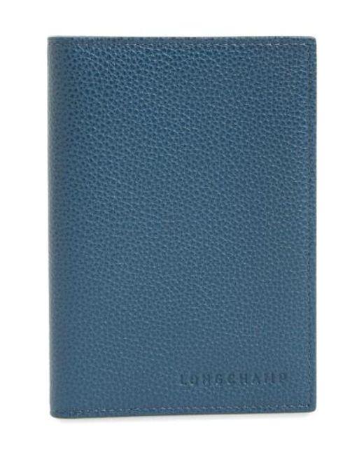 Longchamp | Blue Calfskin Leather Passport Case | Lyst