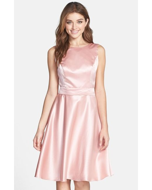 Dessy Collection | Pink Draped Back Satin Fit & Flare Dress | Lyst