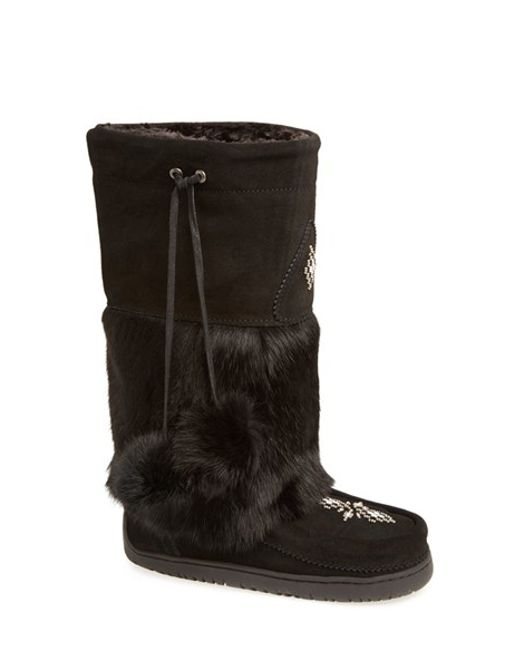 Manitobah Mukluks | Black 'snowy Owl' Genuine Fur & Suede Mukluk | Lyst