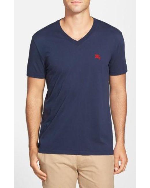 Burberry | Blue Lindon V-Neck Cotton T-Shirt for Men | Lyst