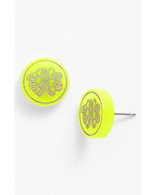 Moon & Lola | Yellow 'chelsea' Small Personalized Monogram Stud Earrings (nordstrom Exclusive) | Lyst