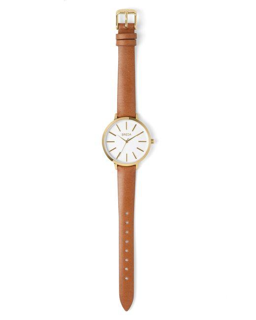 Breda - Brown Joule Round Leather Strap Watch - Lyst