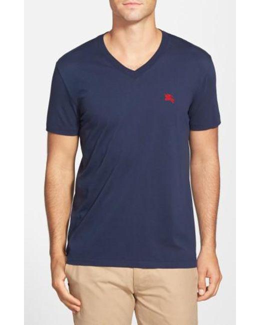 Burberry   Blue Lindon V-Neck Cotton T-Shirt for Men   Lyst