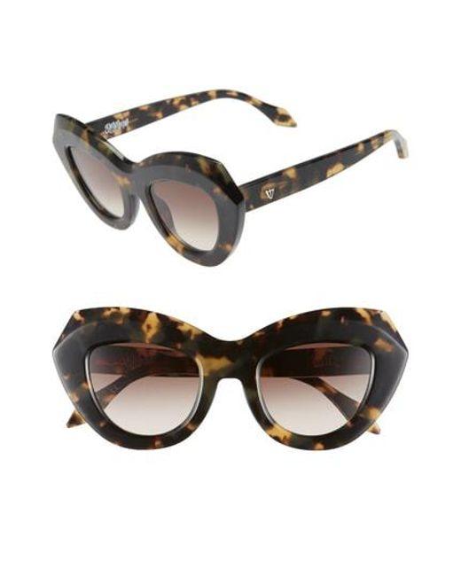 Valley Eyewear - Black De La Luna 46mm Gradient Cat Eye Sunglasses - - Lyst
