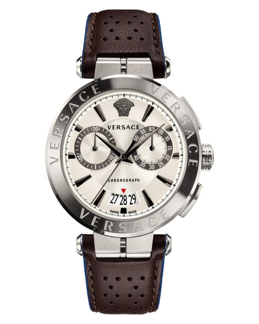 Versace - Metallic Aion Chronograph Leather Strap Watch for Men - Lyst