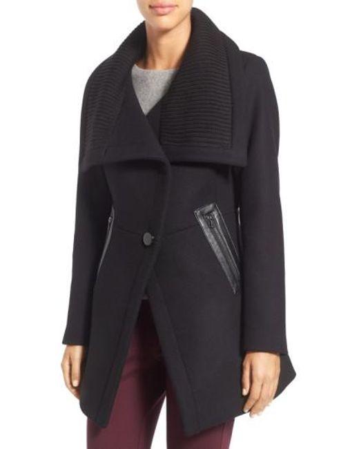 Trina Turk | Black 'maddi' Knit Collar Cutaway Wool Blend Coat | Lyst