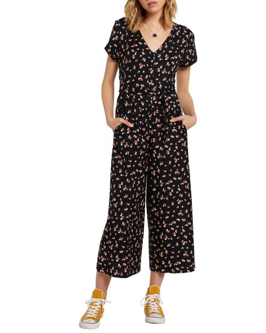 Volcom Black Beach Floral Print Jumpsuit