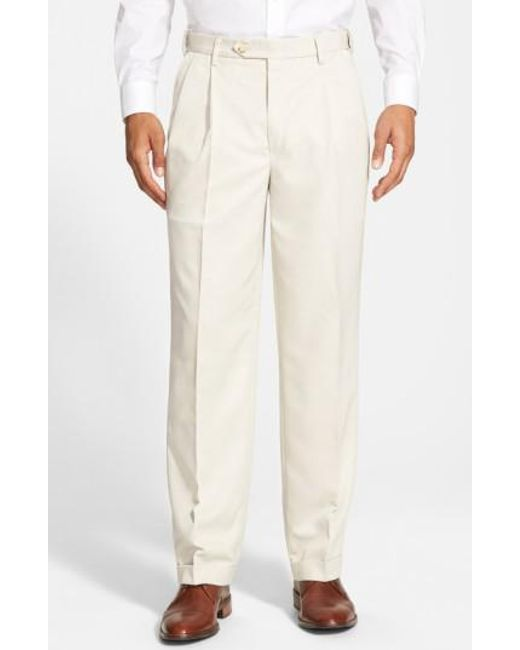 Berle - Natural Self Sizer Waist Pleated Trousers for Men - Lyst
