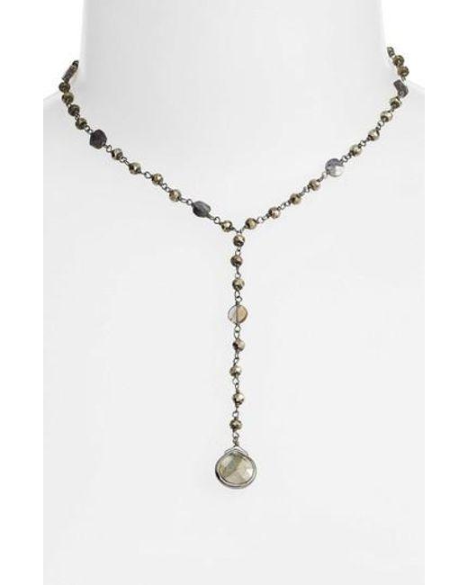 Ela Rae   Metallic Yaeli Midi Satellite Semiprecious Stone Y-necklace   Lyst