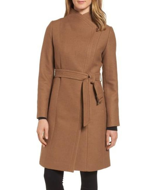 Cole Haan | Brown Belted Double Breasted Coat | Lyst
