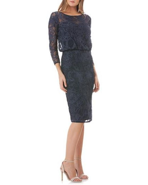 JS Collections - Blue Soutache Embroidered Blouson Dress - Lyst