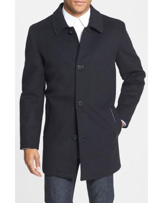 Vince Camuto | Black Water Repellent Wool Blend Car Coat for Men | Lyst
