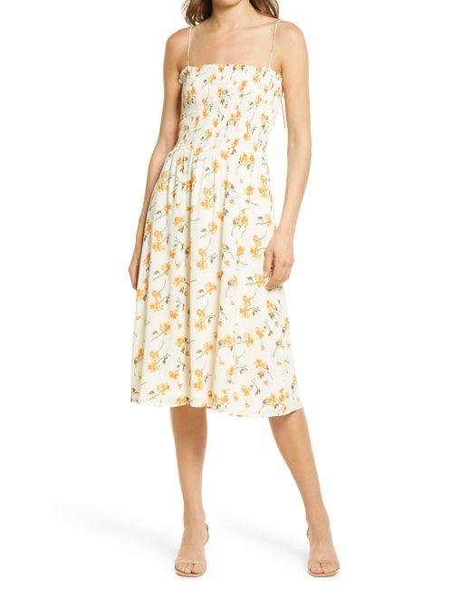 Reformation Multicolor Sable Smocked Bodice Midi Dress
