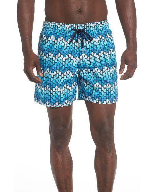 b4299f01c7 Vilebrequin - Blue Moorea Herringbone Turtle Print Swim Trunks for Men -  Lyst ...