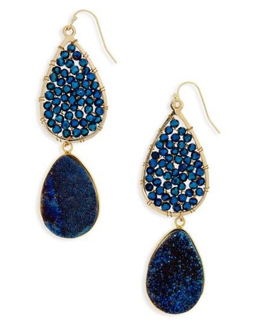 Panacea | Blue Crystal Drop Earrings | Lyst
