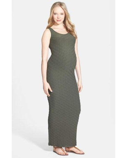 Tees by Tina - Green 'lattice' Maxi Maternity Dress - Lyst