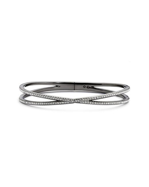 Nadri - Black Pave Hinged Crossover Bracelet (nordstrom Exclusive) - Lyst