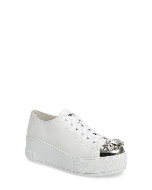 Miu Miu - White Crystal Cap Toe Sneaker - Lyst