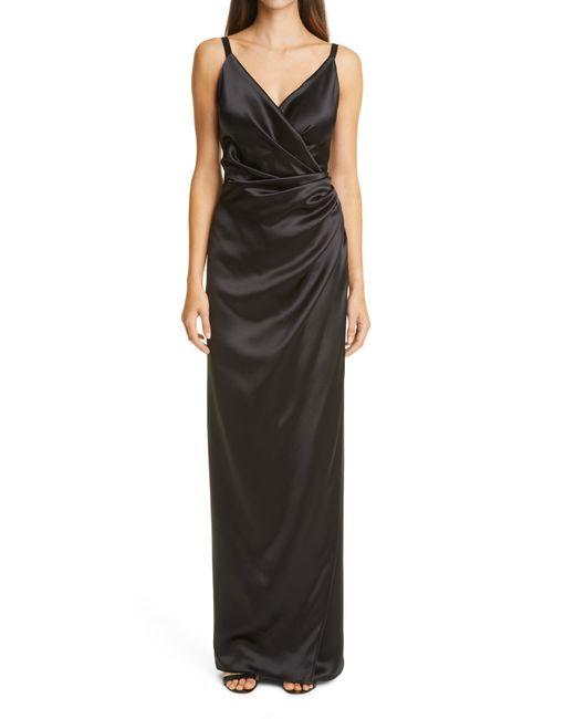 Dolce & Gabbana Drape Silk Gown In Nero (Black)