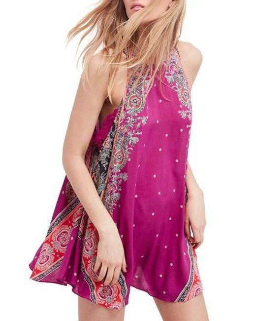 Free People - Purple Darjeeling Print Minidress - Lyst
