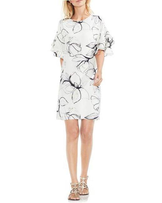 Vince Camuto | White Fresco Petals Ruffle Sleeve Shift Dress | Lyst