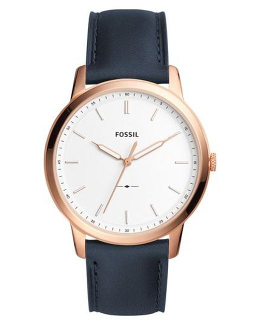 Fossil   Metallic Minimalist Leather Strap Watch   Lyst