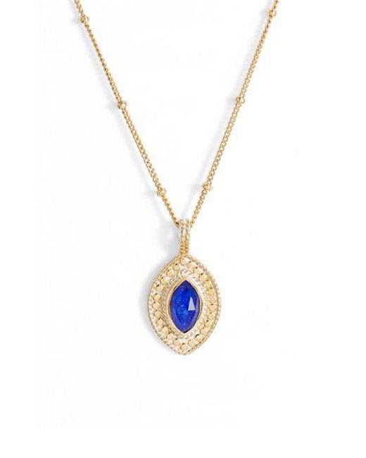 Anna Beck - Metallic Lapis Marquise Pendant Necklace - Lyst